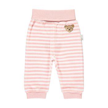 Steiff csíkos plüss biopamut melegítő alsó , babanadrág- Baby Organic - Raindrops kollekcó világos rózsaszín    Bunny and Teddy