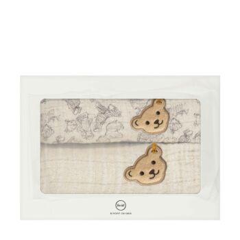 Steiff 2 darabos textilpelenka szett biopamutból díszdobozban- Baby Unisex Organic - Bear Hugs kollekcó bézs  | Bunny and Teddy