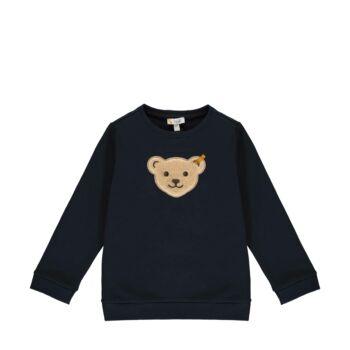 Steiff kapucnis pamut pulóver sípoló hangot kiadó macival az elején- Mini Boys - Forest Friends kollekció