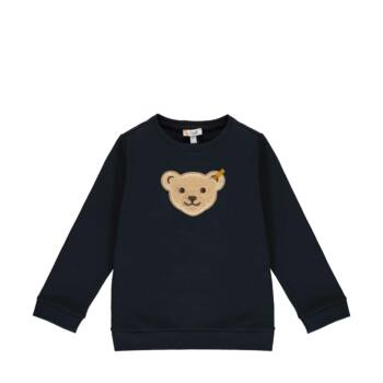 Steiff kapucnis pamut pulóver sípoló hangot kiadó macival az elején- Mini Boys - Forest Friends kollekcó sötétkék/fekete  | Bunny and Teddy