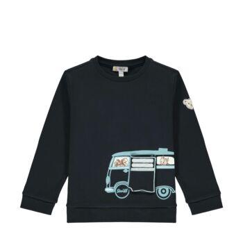 Steiff pamut pulóver erdei állatokkal- Mini Boys - Forest Friends kollekcó sötétkék/fekete    Bunny and Teddy