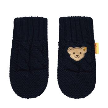 Steiff kötött kesztyű- Mini Boys - Forest Friends kollekcó sötétkék/fekete  | Bunny and Teddy
