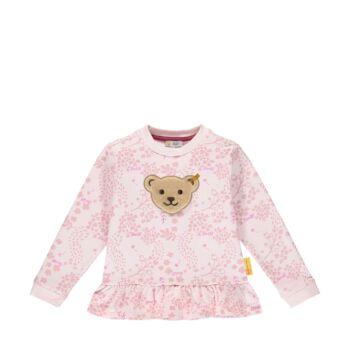 Steiff levél mintás pamut pulóver sípoló hangot kiadó macival- Mini Girls - Fairytale kollekcó világos rózsaszín    Bunny and Teddy