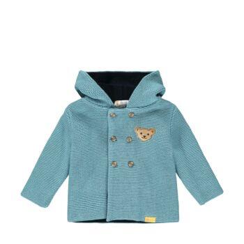 Steiff bélelt kötött kardigán kapucnival- Baby Boys - Forest Friends kollekcó kék    Bunny and Teddy