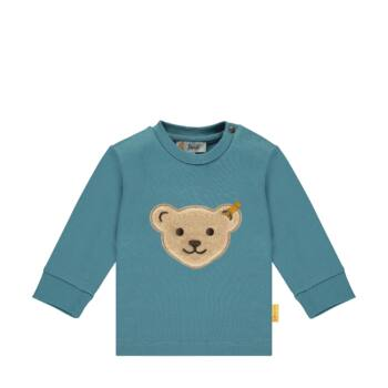 Steiff pamut pulóver nagy macival az elején- Baby Boys - Forest Friends kollekcó sötétkék/fekete  | Bunny and Teddy