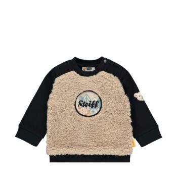 Steiff pamut pulóver zörgő hangot kiadó logoval az elején- Baby Boys - Forest Friends kollekcó sötétkék/fekete  | Bunny and Teddy