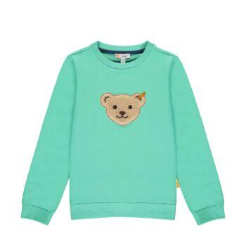Steiff pamut pulóver, melegítő felső sípoló hangot kiadó macival az elején- Mini Boys - High 5! kollekcó zöld  | Bunny and Teddy