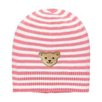 Steiff csíkos pamut kötött sapka - Mini Girls - Bugs Life kollekcó rózsaszín    Bunny and Teddy