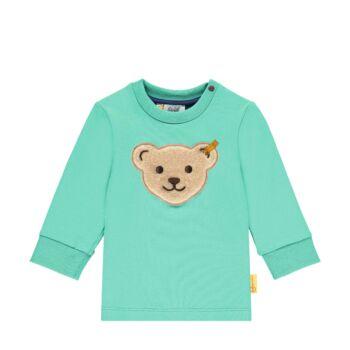 Steiff pamut pulóver nagy  Steiff macival az elején- Baby Boys - High 5! kollekcó zöld  | Bunny and Teddy