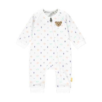 Steiff cipzáros lábfej nélküli rugdalózó, pizsama vespás mintával- Baby Boys - High 5! kollekcó fehér  | Bunny and Teddy