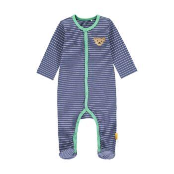 Steiff csíkos lábfejes rugdalózó patentokkal- Baby Boys - High 5! kollekcó kék    Bunny and Teddy