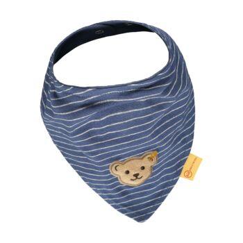 Steiff csíkos háromszög alakú kendő, nyálkendő- Baby Boys - High 5! kollekcó kék  | Bunny and Teddy