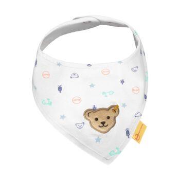 Steiff háromszög alakú kendő 2db-os csomagban- Baby Boys - High 5! kollekcó fehér  | Bunny and Teddy