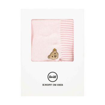 Steiff kötött pléd, takaró díszdobozban- Baby Girls - Bugs Life kollekcó világos rózsaszín    Bunny and Teddy