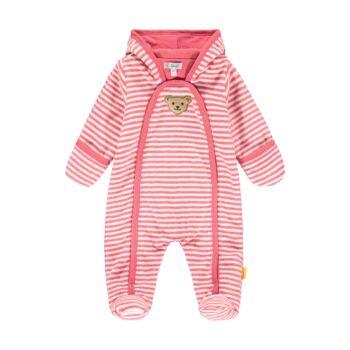 Steiff csíkos plüss overál pamut béléssel a hűvösebb napokra- Baby Girls - Bugs Life kollekcó rózsaszín  | Bunny and Teddy