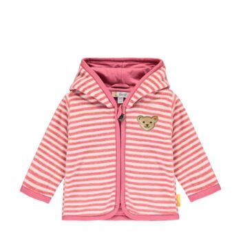 Steiff csíkos kocsikabát polár fleece anyagból pamut béléssel- Baby Girls - Bugs Life kollekcó rózsaszín  | Bunny and Teddy