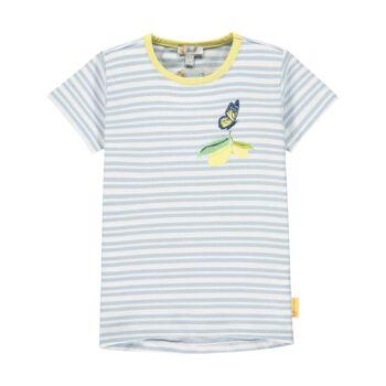 Steiff csíkos rövid ujjú póló pillangóval és citrommal- Mini Girls - Hello Summer kollekció fehér    Bunny and Teddy