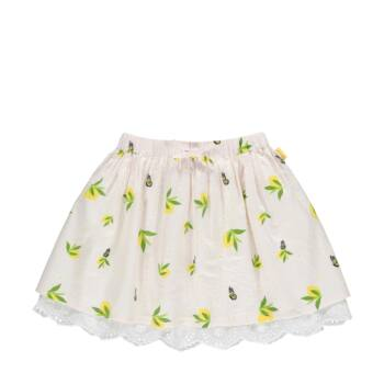 Steiff fodros szoknya citromos mintával- Mini Girls - Hello Summer kollekció fehér  | Bunny and Teddy
