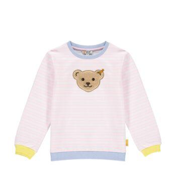 Steiff csíkos pamut pulóver sípoló hangot kiadó macival az elején - Mini Girls - Hello Summer kollekció fehér  | Bunny and Teddy