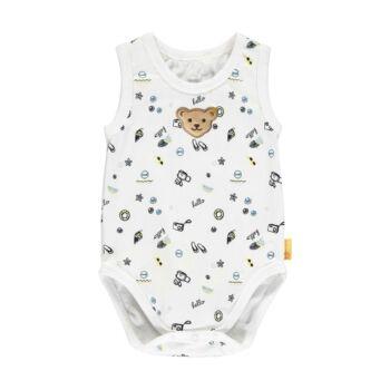 Steiff ujjatlan body nyaralós mintával- Baby Boys - Hello Summer kollekció fehér  | Bunny and Teddy