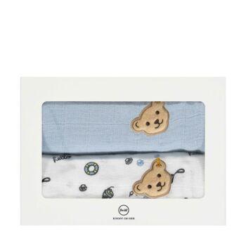 Steiff textilpelenka 2db-os csomagban- Baby Boys - Hello Summer kollekció fehér  | Bunny and Teddy