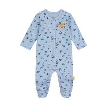 Steiff lábfejes rugdalózó, pizsama nyaralós mintával- Baby Boys - Hello Summer kollekció fehér    Bunny and Teddy