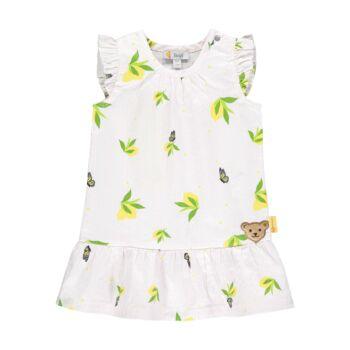 Steiff ujjatlan ruha fodrokkal és citromos mintával- Baby Girls - Hello Summer kollekció fehér  | Bunny and Teddy