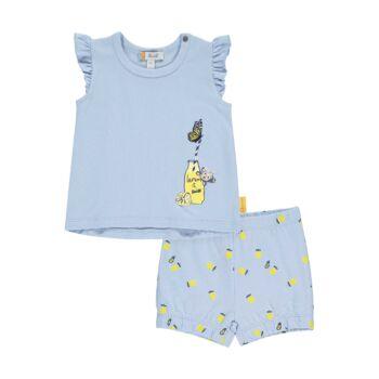 Steiff ujjatlan póló és rövidnadrág szett citromos mintával- Baby Girls - Hello Summer kollekció fehér  | Bunny and Teddy