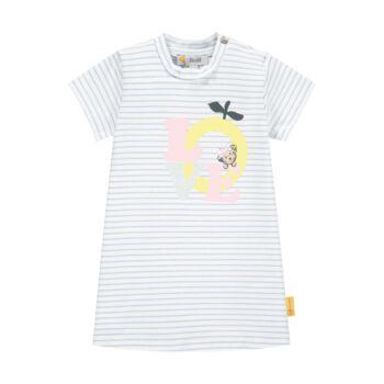 Steiff csíkos pamut ruha LOVE felirattal- Baby Girls - Hello Summer kollekció fehér  | Bunny and Teddy